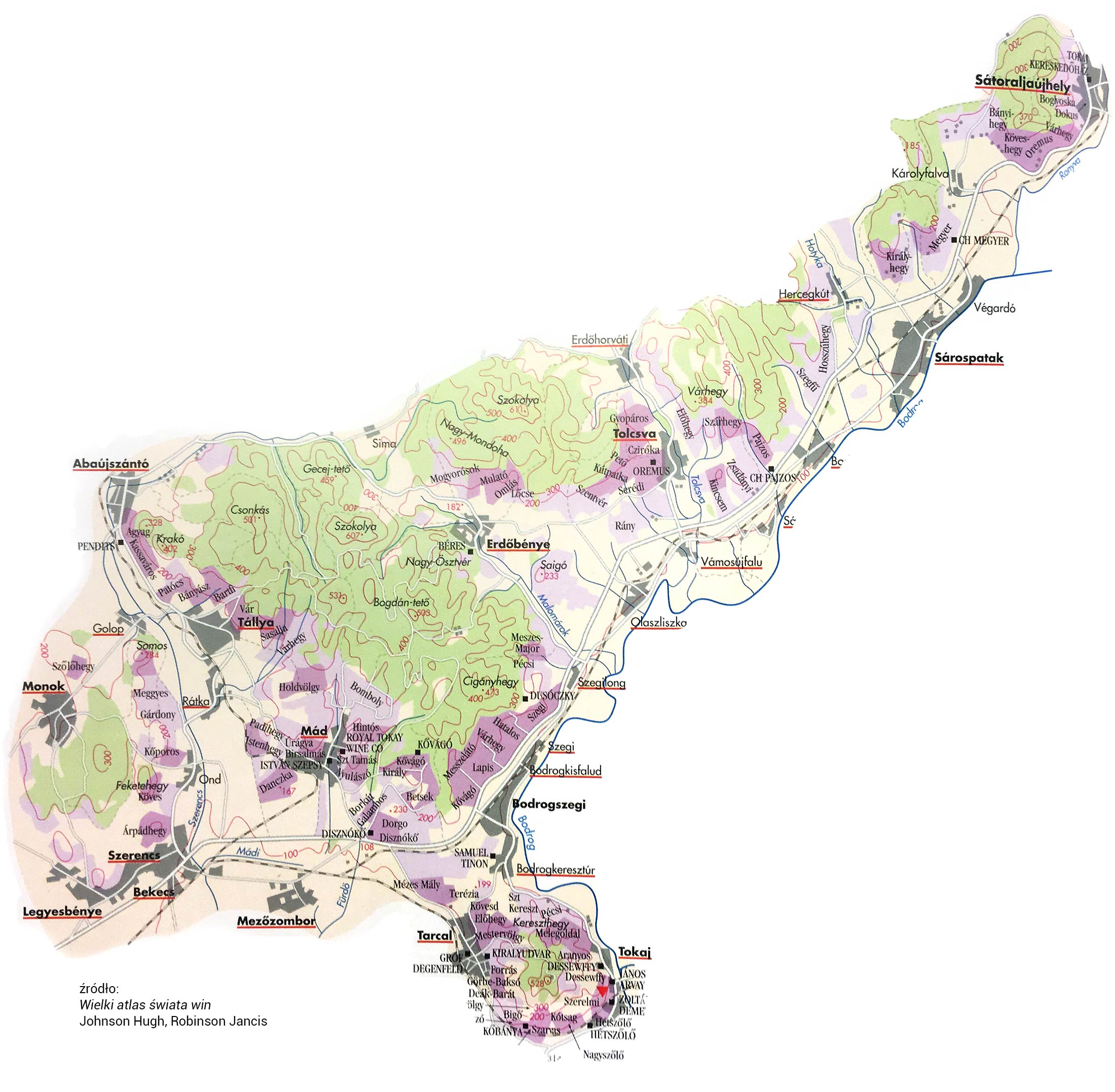 Tokaj map of wine regions and terrior