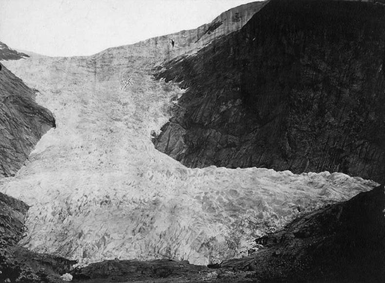 First photograph of Briksdalsbreen, taken on 29 July 1869 by Christen de Seue