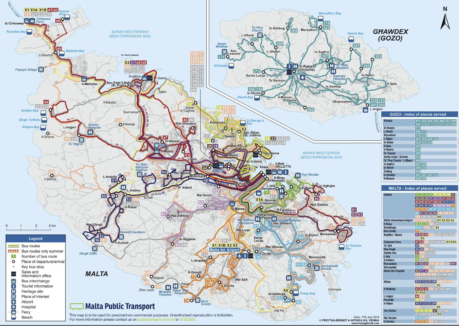 malta - mapa połączeń autobusowych i linii