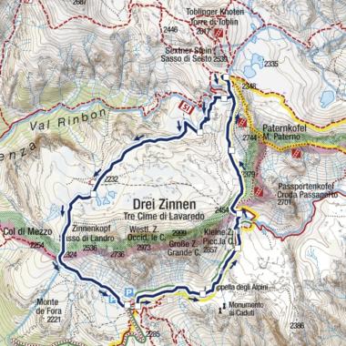 Trzy Kominy - szlak i mapka z trasą 101 - 105