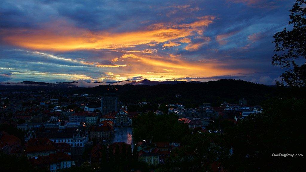 Lublana, Slovenia, sunset