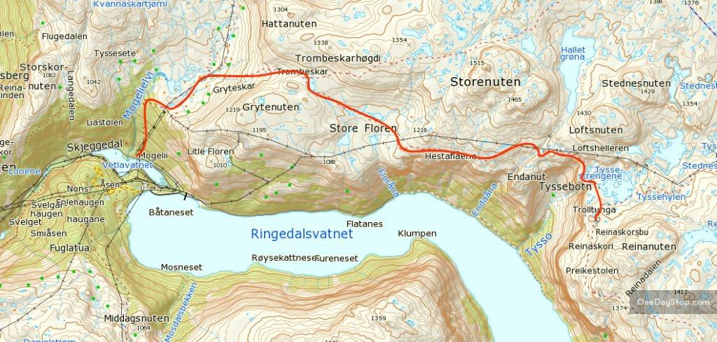 trolltunga mapa