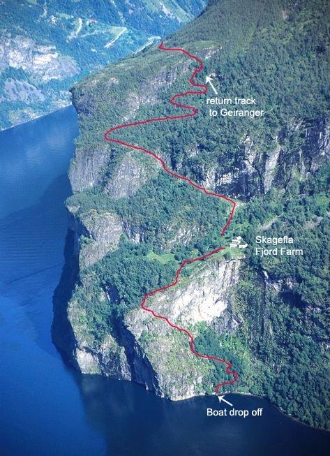Skagefla farm trail map, Geiranger