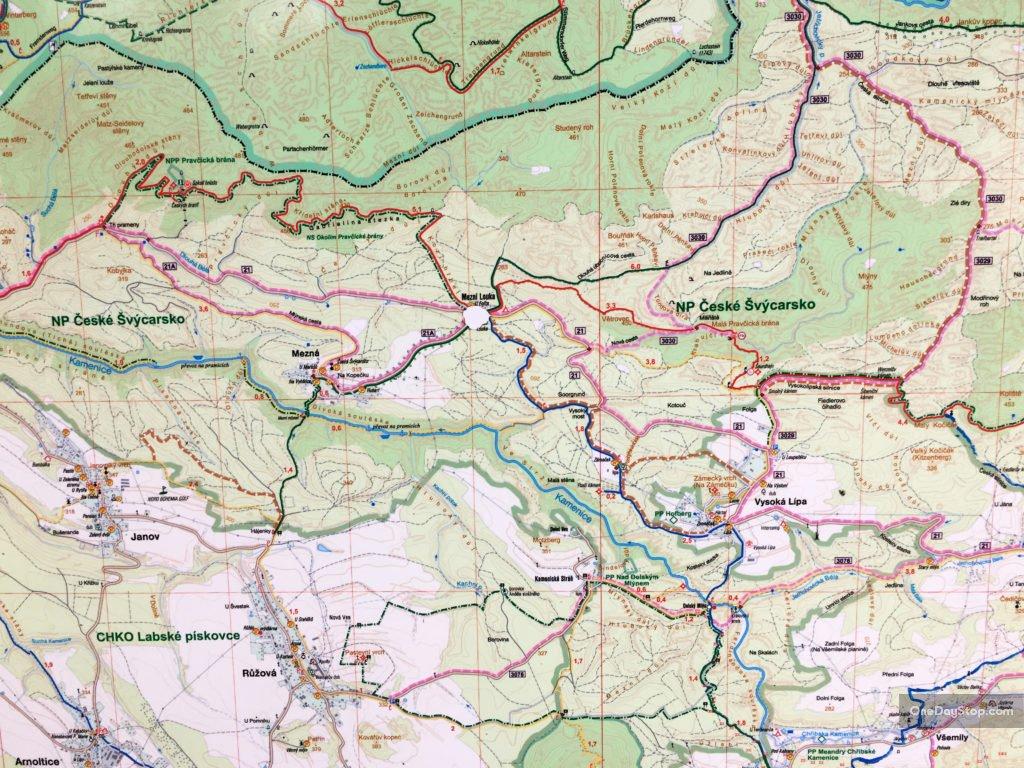 Trasy turystyczne, mapa, Czeska Szwajcaria