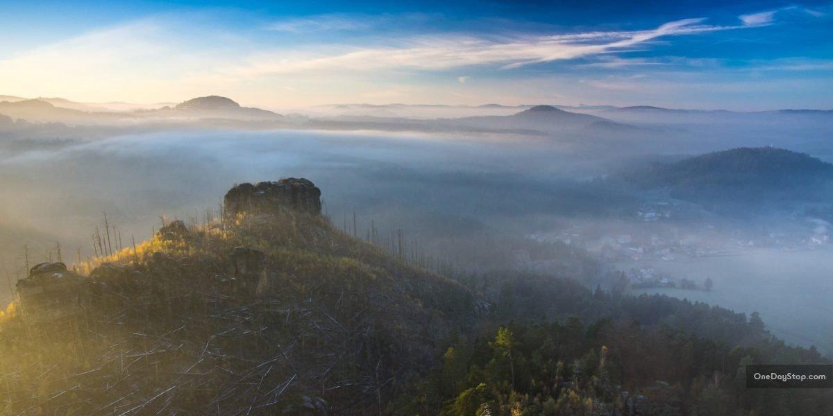 Widok z: Mariina skála, Mariina vyhlídka, Skała Marii, Czeska Szwajcaria, Czechy