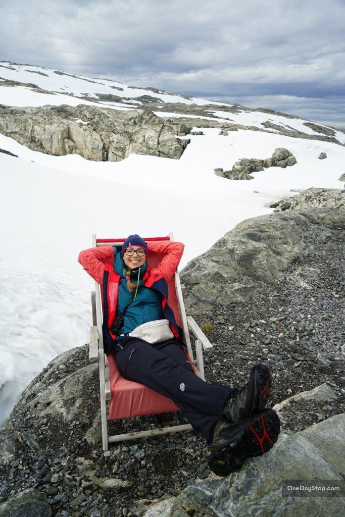 Na leżaczku na lodowcu