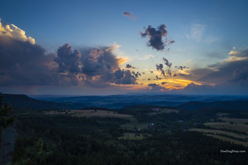 Szczeliniec Wielki - zachód słońca