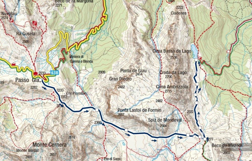 436 szlak w Dolomitach mapa