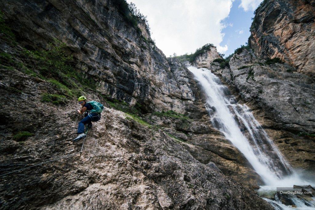 Cascada di Fanes - Via ferrata łatwa w Dolomitach