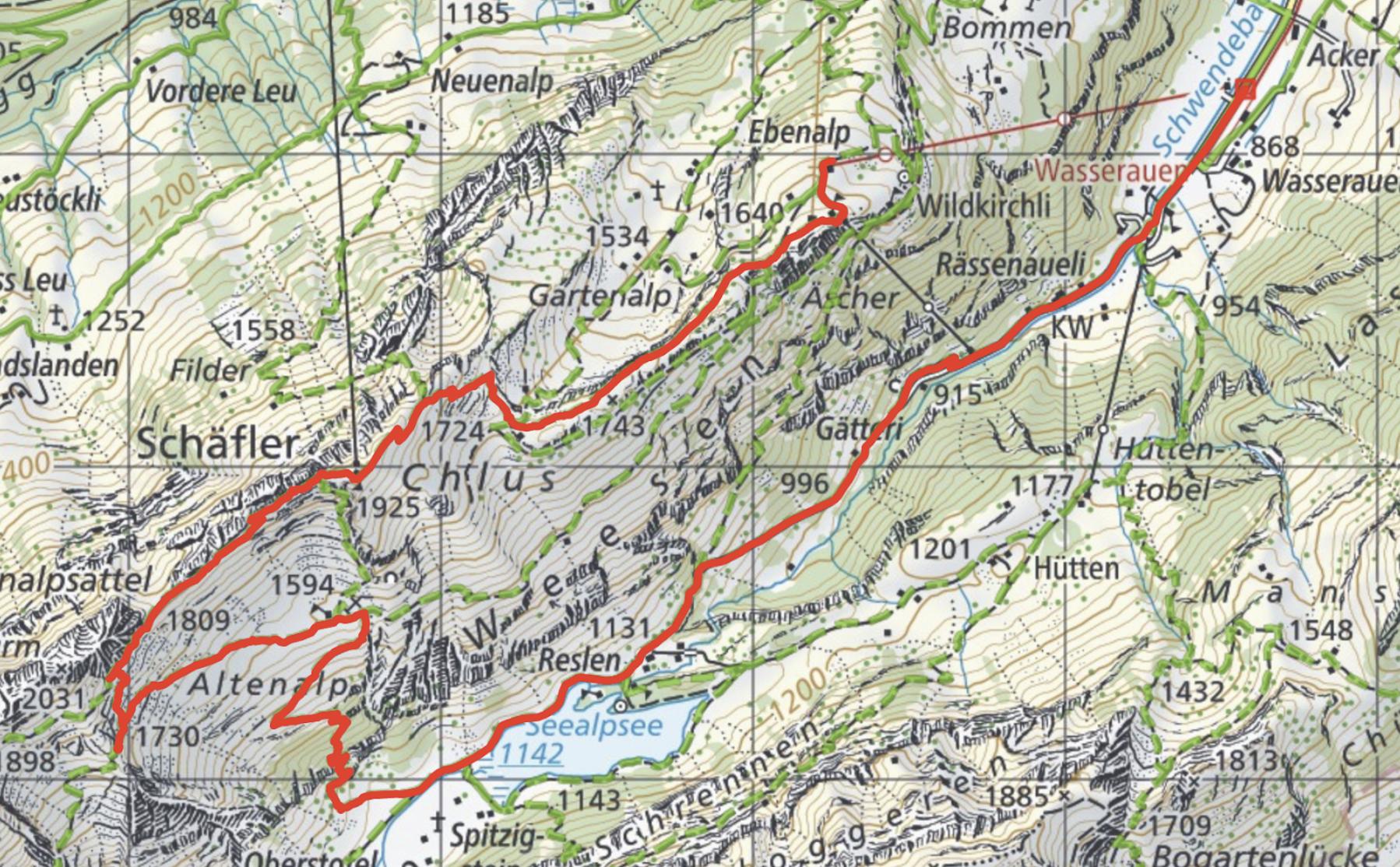 Mapa szlaku Alpstein