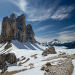 Dolomity Trzy Kominy zimą