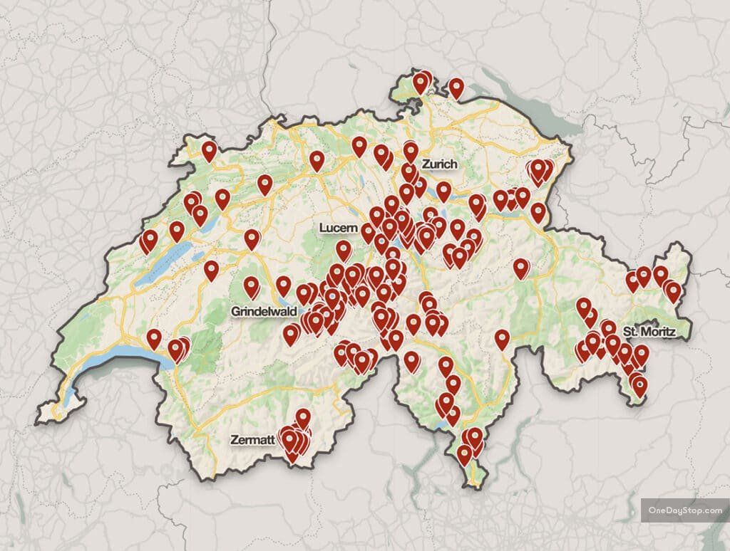 Switzerland Photo Spots - map with locations
