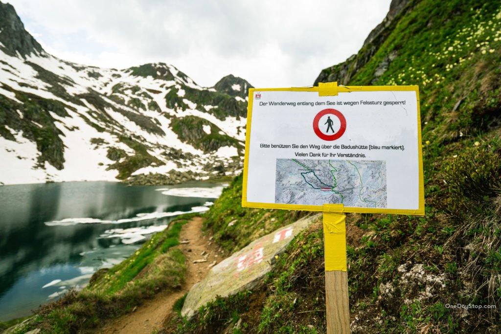 zamknięty szlak w alpach