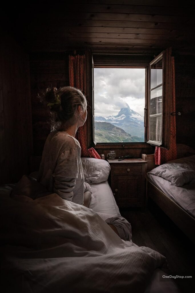 View on Matterhorn from a hotel's window - Zermatt, Fluhalp