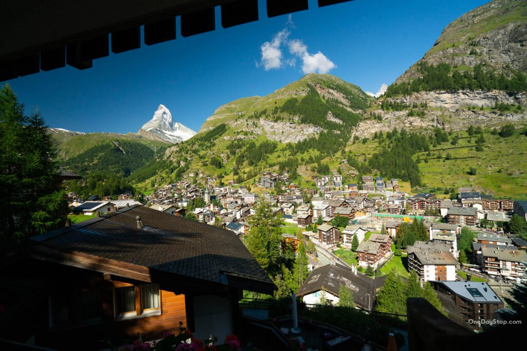 View on Matterhorn from Zermatt - hotel window, summer