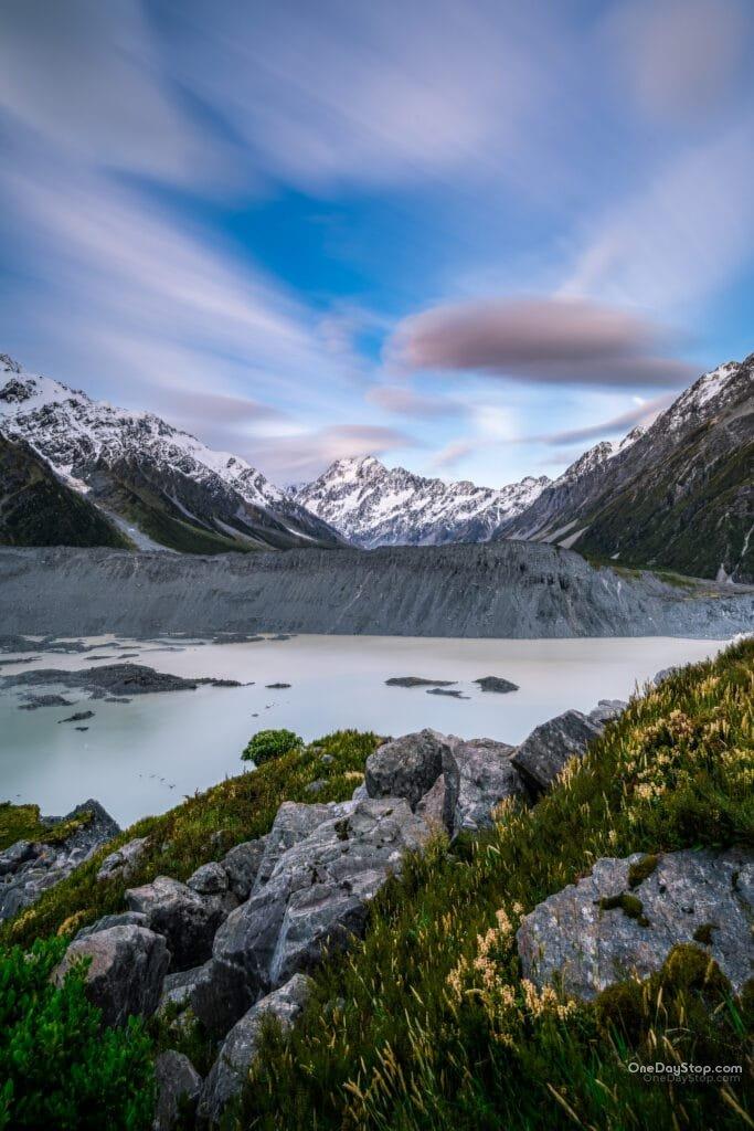 Mueller Lake i Aoraki / Mt Cook - Nowa Zelandia